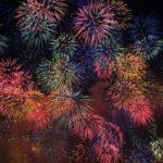 夜空の花火大会を見上げる
